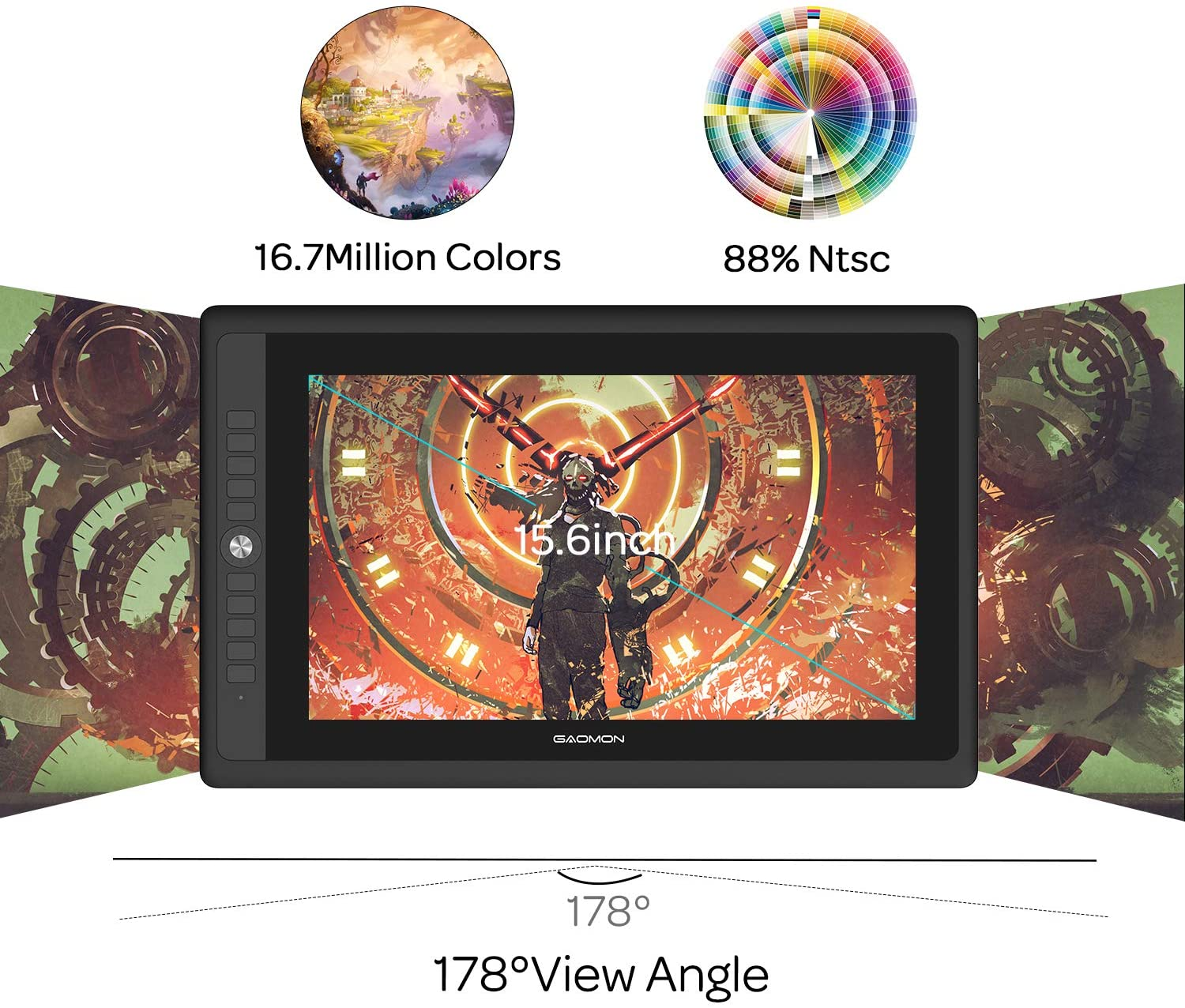 GAOMON PD156PRO 15.6 Full-Laminated Graphics Display with 8192 Levels Pen Pressure Battery-free Support Tilt Function