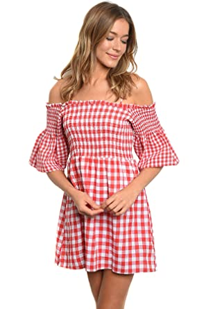 3d79d2f14082 Womens Red Gingham Rockabilly Country Off The Shoulder Fashion Dress (Small)