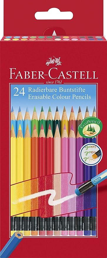 Faber-Castell 116625 - Lápices de colores borrables, estuche de cartón de 24 unidades: Amazon.es: Oficina y papelería