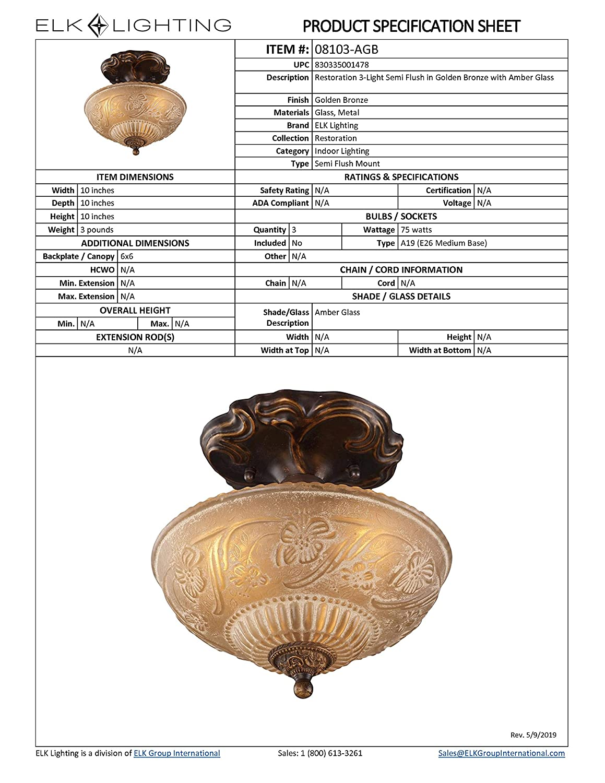 Amazon.com: Alces 08103-agb Restauración 3-Light Semi-Flush ...