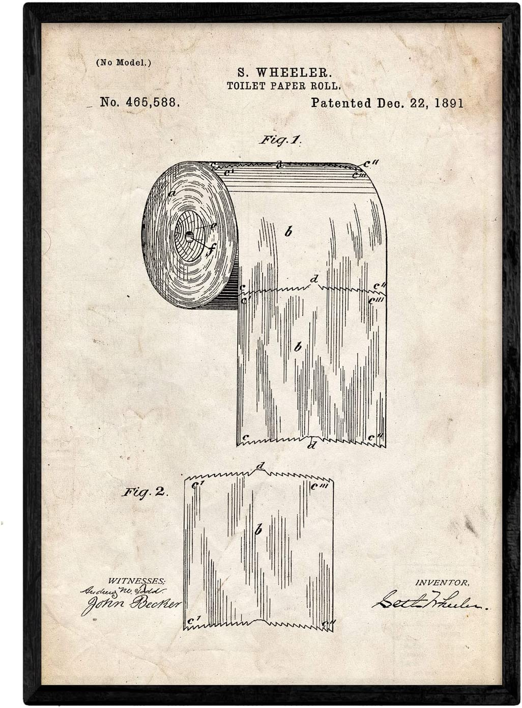 Nacnic Poster con Patente de Papel higienico. Lámina con diseño de ...