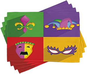 Ambesonne Mardi Gras Place Mats Set of 4, Colorful Frames with Mardi Gras Harlequin Hat and Fleur De Lis Print, Washable Fabric Placemats for Dining Room Kitchen Table Decor, Purple Vermilion