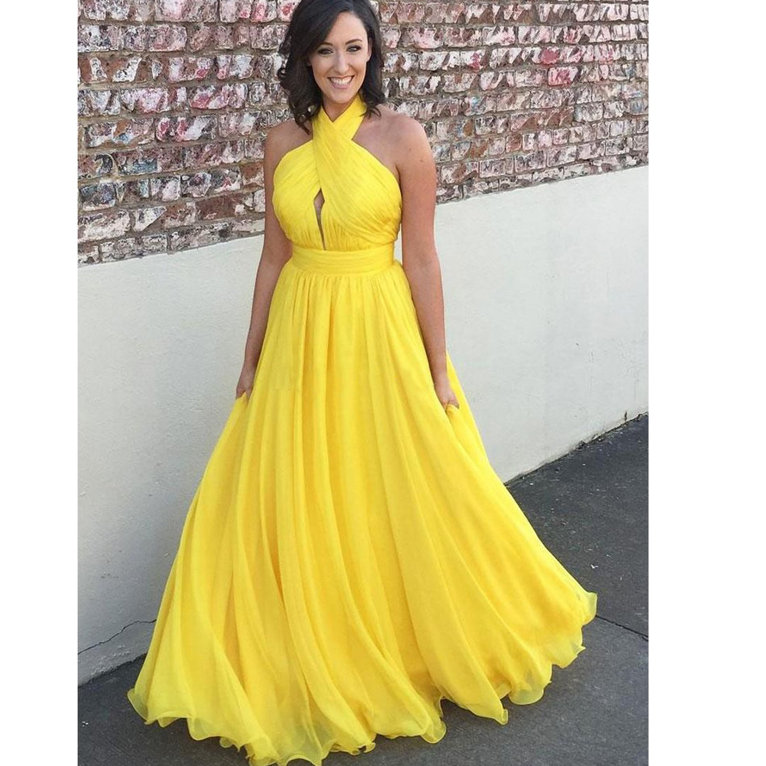 Fair Lady Yellow Plus Size Chiffon Long Evening Dresses Halter Pleated Backless Formal Gowns Prom Dresses 2018 at Amazon Womens Clothing store:
