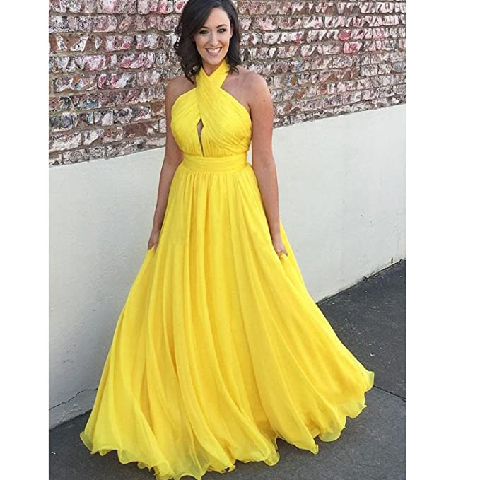 Fair Lady Yellow Plus Size Chiffon Long Evening Dresses Halter
