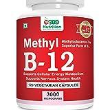 Pronutrition Vitamin B12-3000 MCG Methylcobalamin (Methyl B12) Supports Natural Energy & Metabolism - 120 Vegetable capsules
