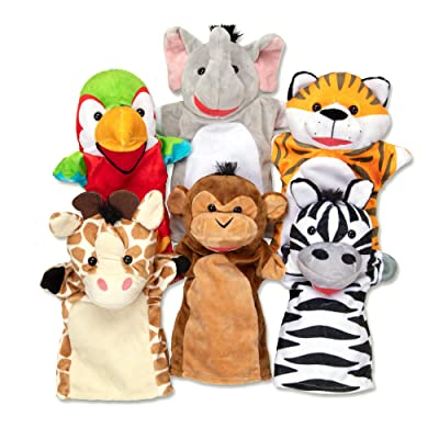 Melissa & Doug Safari Buddies Hand Puppets, Set of 6 (Elephant, Tiger, Parrot, Giraffe, Monkey, Zebra): Toys & Games
