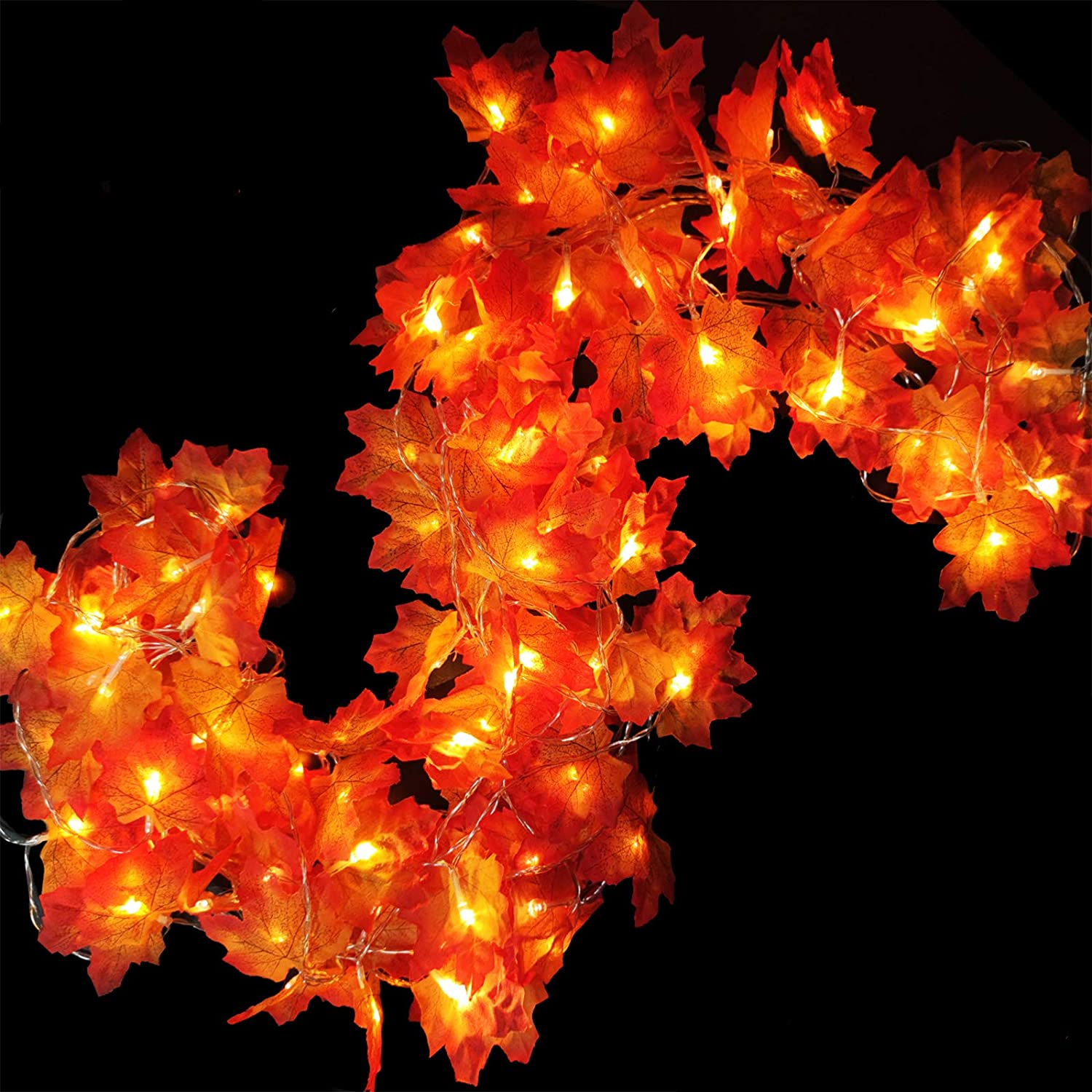 iGeeKid Maple Leaves Lighted Fall Garland 40LED 16.4FT String Lights Battery Operated Fall Halloween Thanksgivings Autumns Decorations for Home Party Indoor Outdoor (Warm White)
