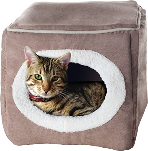 PETMAKER Cozy Cave Enclosed Cube Pet Bed – Light Coffee