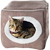 PAW Enclosed Cube Pet Bed, Light Coffee