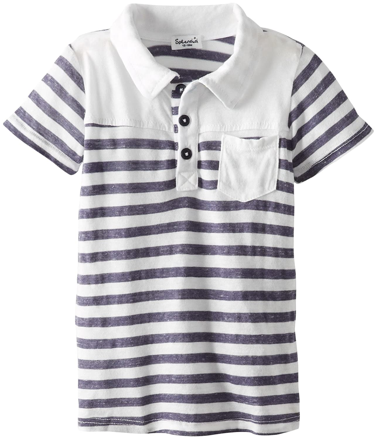 Splendid Littles Baby-Boys Newborn French Stripe Short Sleeve Polo White 6-12 Months SKKF2275