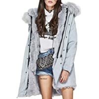S.ROMZA Women Real Rabbit Fur Parka Upscale Long Hooded Coat Detachable Jacket Real Fur Liner