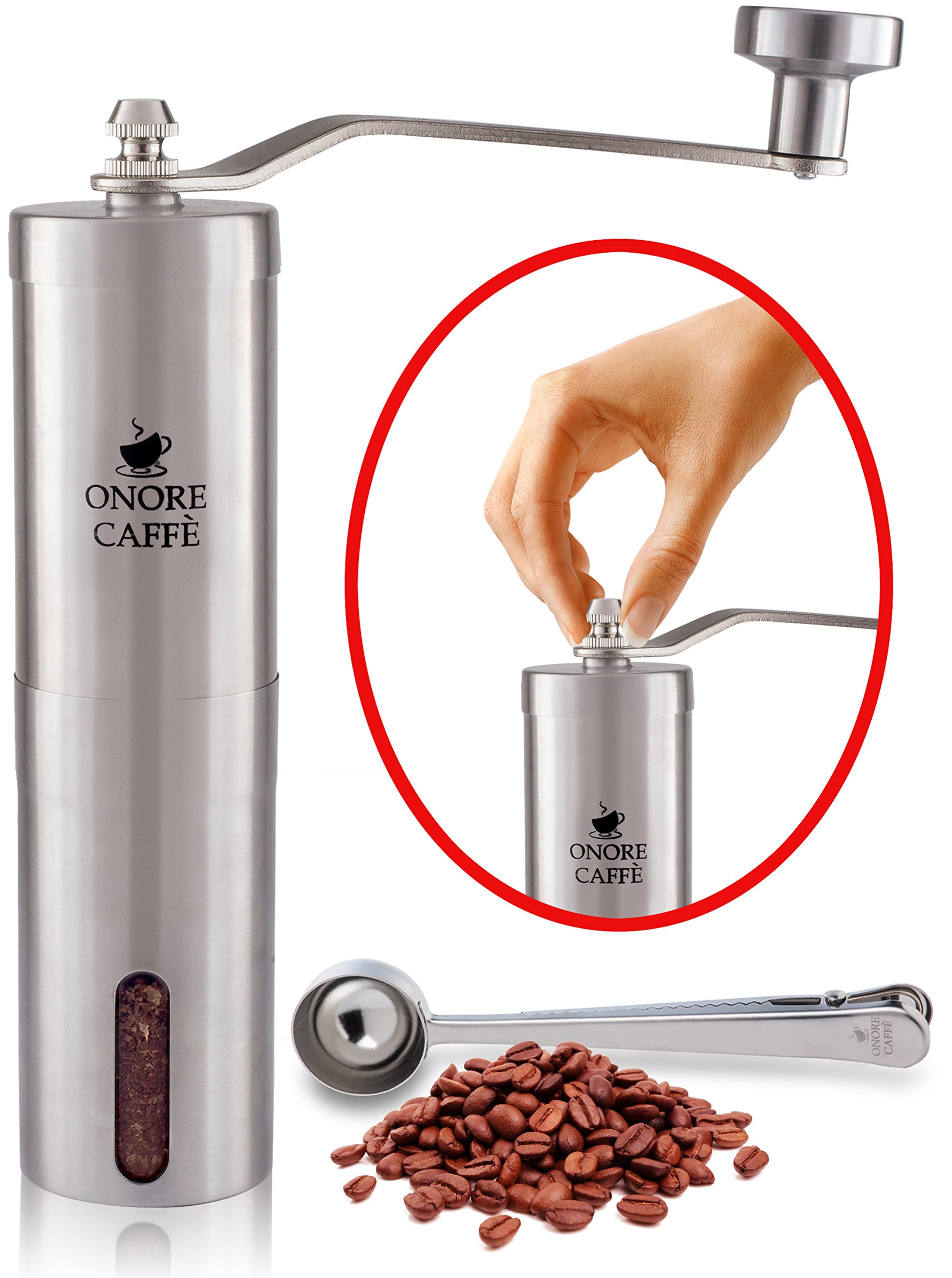 Heavy Duty - Premium Quality Stainless Steel Manual Coffee Grinder - Portable Conical Burr Mill for Precision Brewing + Unique Screw Patent + Scoop + Brush + E-book :: French Press- Espresso - Turkish by ONORE CAFFE