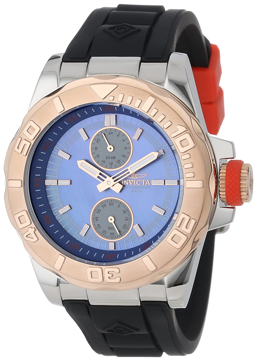 Invicta Men s 13801 Pro Diver Blue Mother-Of-Pearl Dial Black Polyurethane Watch
