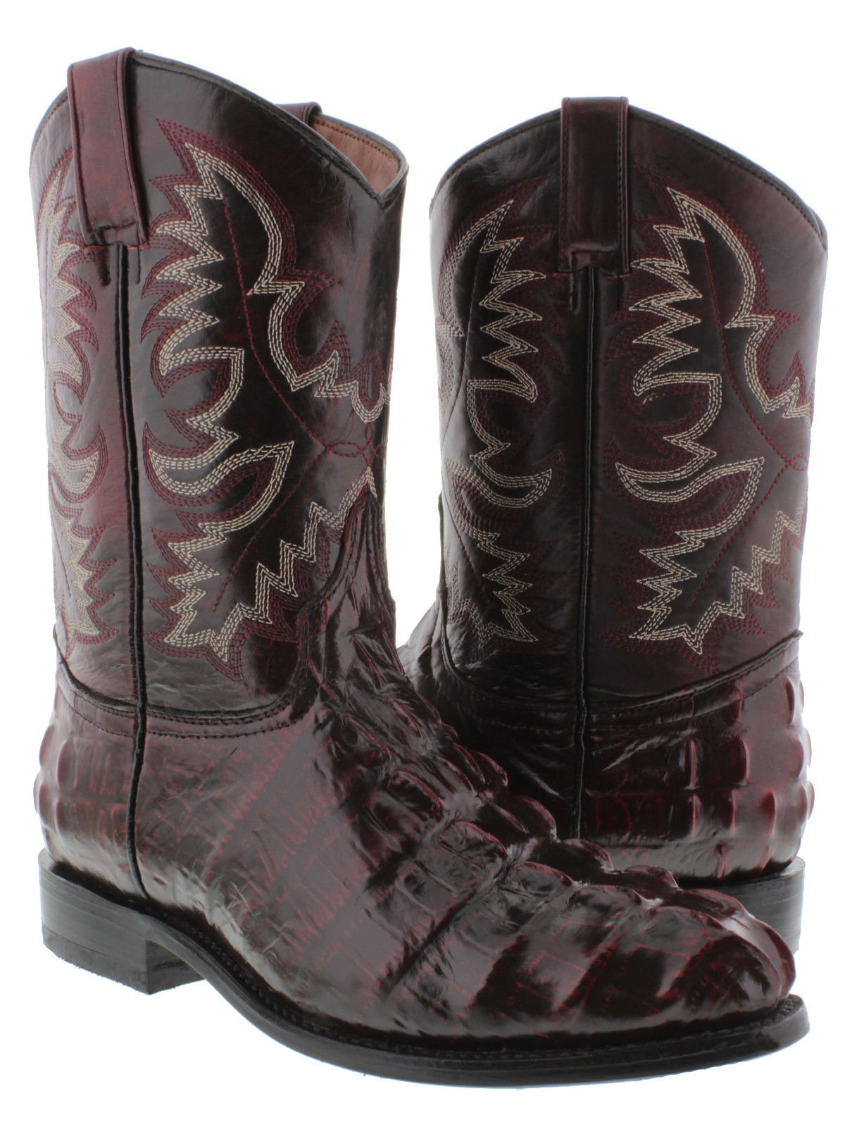 El Presidente Men's Black Cherry Crocodile Tail Design Leather Cowboy Boots Roper 7 D