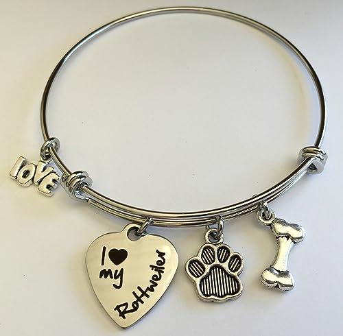 Sterling Silver Rottweiler Dog Charm Bracelet Gift