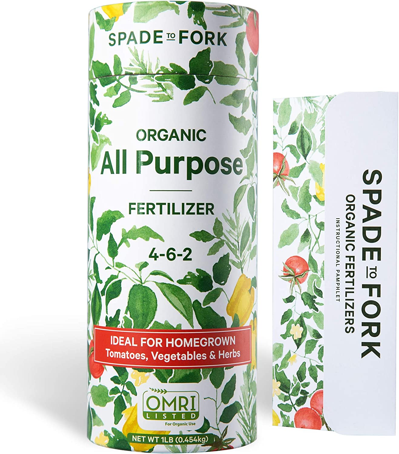 Spade To Fork Organic Indoor Plant Food - All Purpose Natural Herb Vegetable & Tomato Fertilizer + Kelp & Alfalfa Meal for Strong Healthy Plants and Soil - 1lb