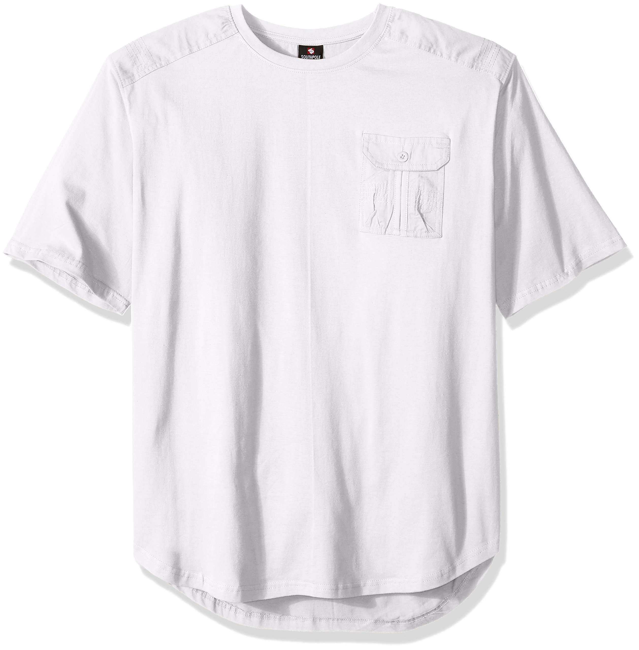 Southpole Men's Big and Tall Short Sleeve Scallop Tee with Fine Twill Detail, White, 4XB