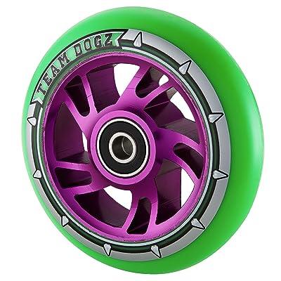Team Dogz 110mm Swirl Core Stunt Scooter Wheel - Purple/Green
