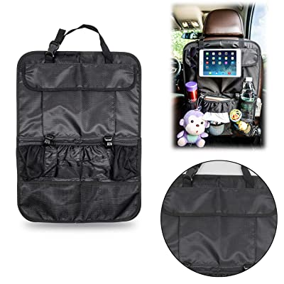 TESIN Backseat Car Organizer Kick Mats, Car Seat Back Organizer with ipad Holder, 7 Storage Pockets with Tissue Box and 2 Large,Thanksgiving Christmas Gift: Home Improvement