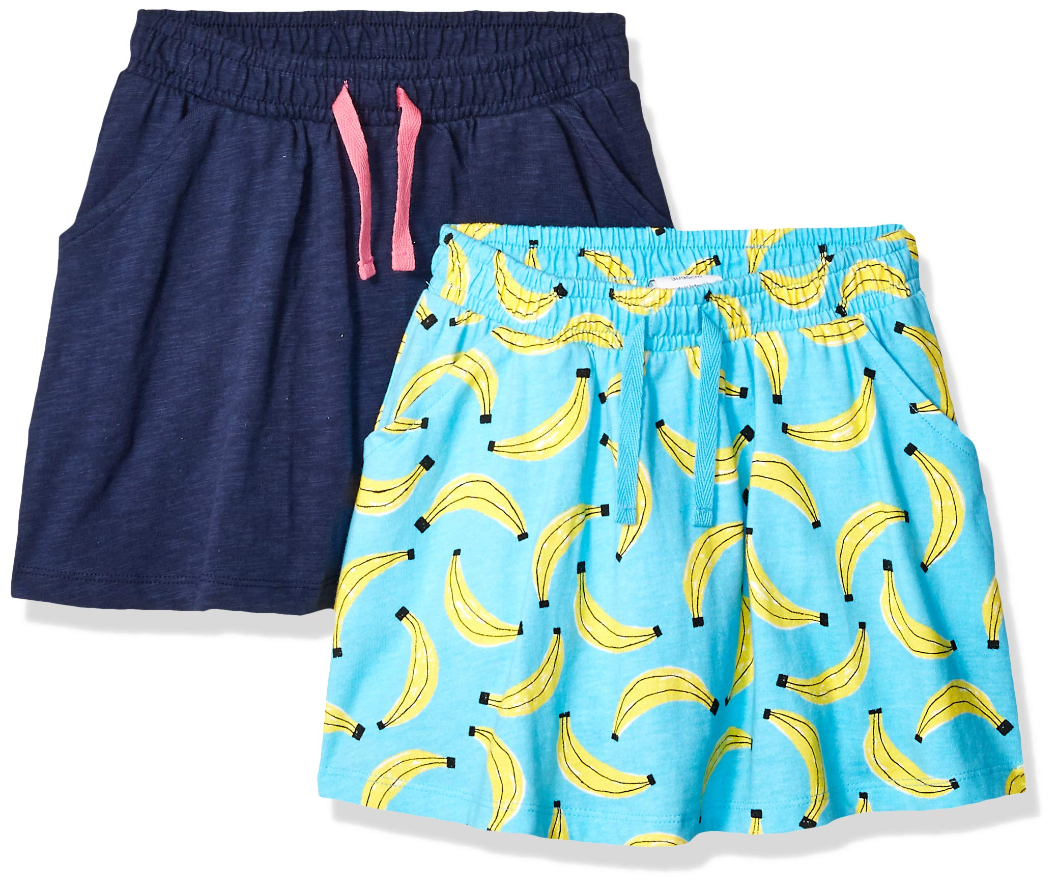 Amazon Brand - Spotted Zebra Little Girls' 2-Pack Twirl Scooter Skirts, Banana/Navy, X-Small (4-5) by Spotted Zebra