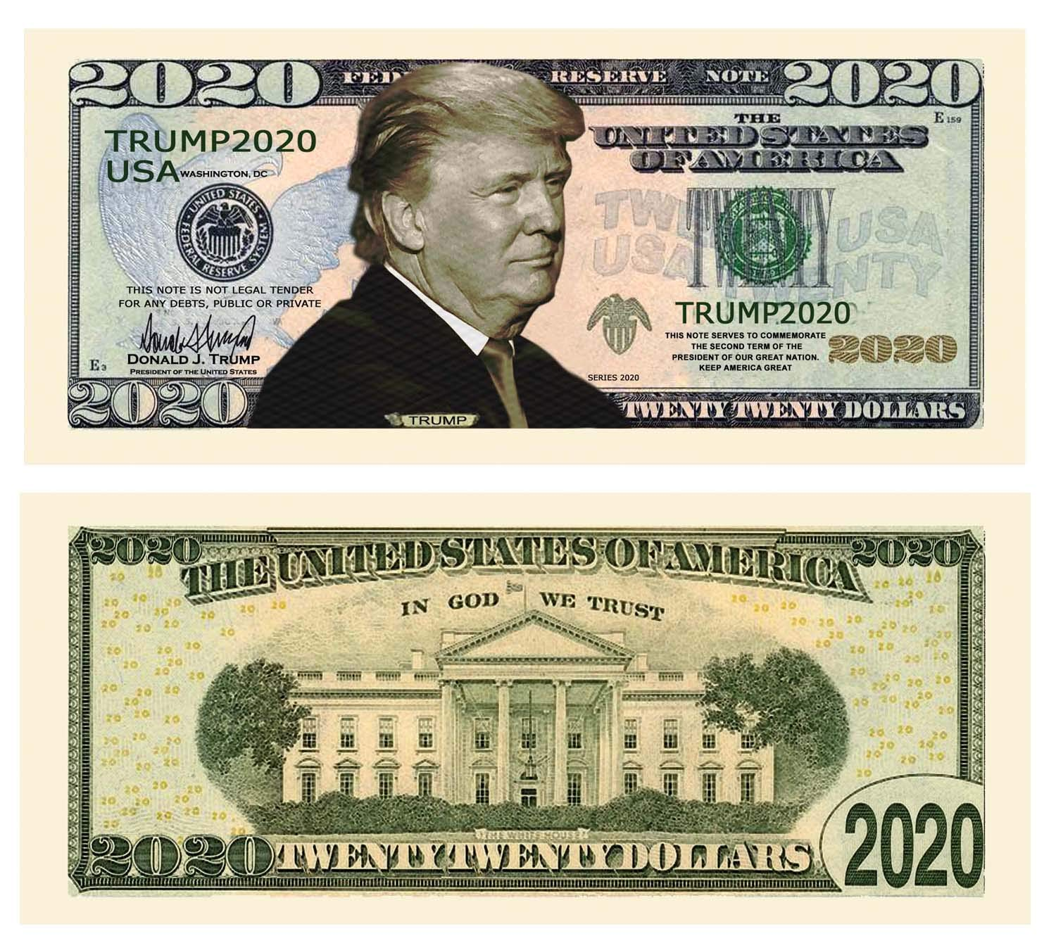 American Art Classics Pack of 50 - Donald Trump 2020 Re-Election Presidential Dollar Bill - Limited Edition Novelty Dollar Bill - The Best Gift Or Keepsake for Lovers of Our Great President by American Art Classics