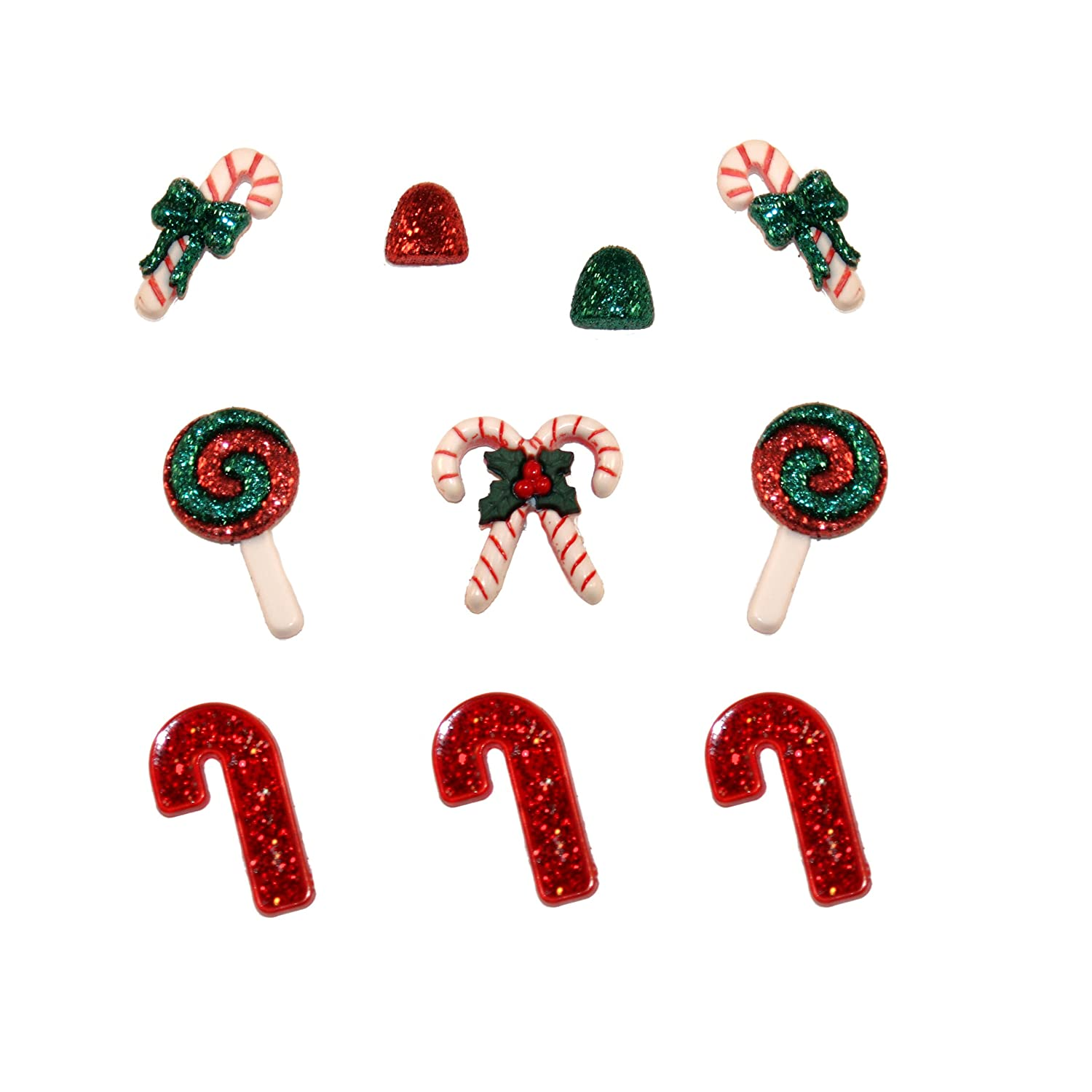 Jesse James DIUHOL-2466 Dress it Up Holiday Collection Embellishments, Candy Striped Christmas