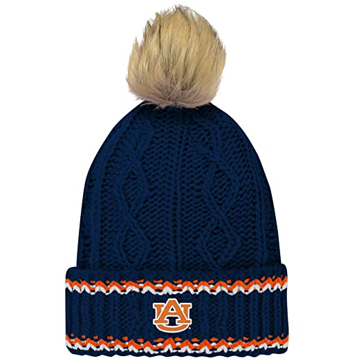 fd86eae7101a44 Amazon.com : NCAA Auburn Tigers Youth Girls Core Furry Pom Cable Knit Hat,  Youth Girls One Size, Dark Navy : Clothing