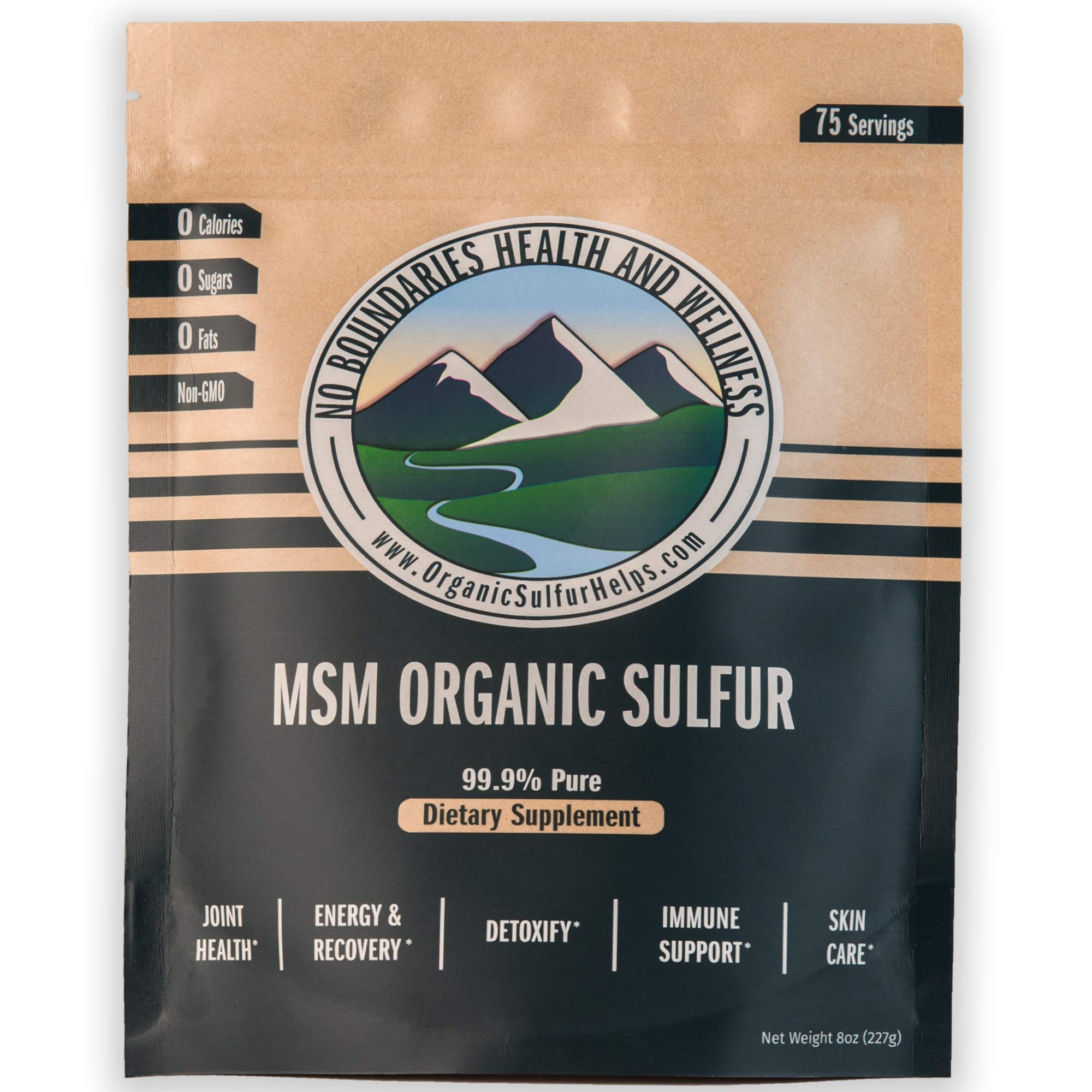 MSM Organic Sulfur Crystals by No Boundaries Health and Wellness - All-Natural, Premium Health Supplement: 99.9% Pure MSM - Benefits: Joint Pain, Allergies, Skin, Hair & Nail Health - No Fillers by No Boundaries Health and Wellness MSM Organic Sulfur