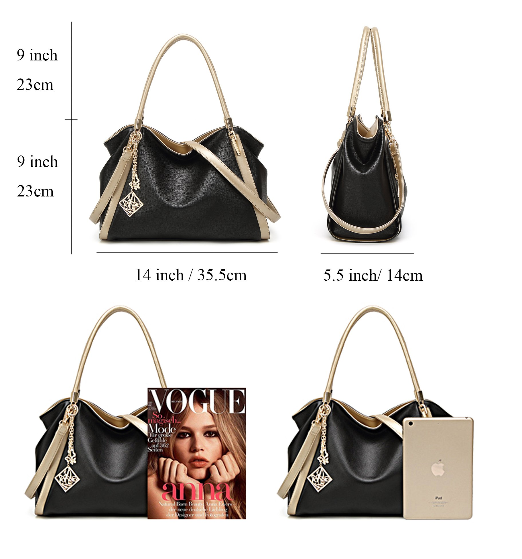 Soft Leather Purse Handbag Large Women Tote Hobo Bag Shoulder Bag Top handle Satchel (black) by LIKE IT LOVE IT (Image #3)