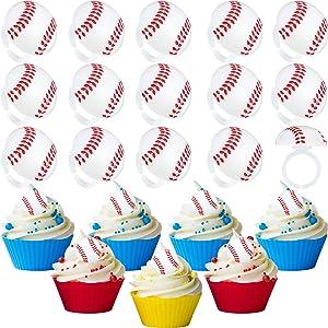 48 Sets 3D Baseball Cupcake Toppers Baseball Cupcake Rings 3D Baseball Cake Topper Rings for Baby Shower Birthday Party Baseball Theme Party Cupcake/Dessert/Food Decoration