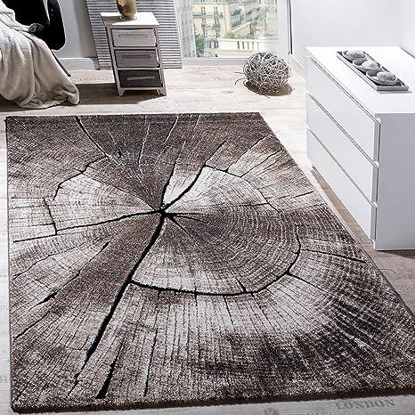 Paco Home Edler Designer Teppich Wohnzimmer Holzstamm Baum Optik Natur Grau  Braun Beige, Grösse:120x170 cm