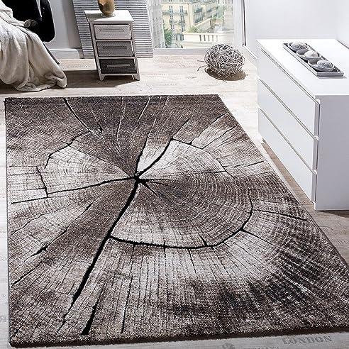 Edler Designer Teppich Wohnzimmer Holzstamm Baum Optik Natur Grau