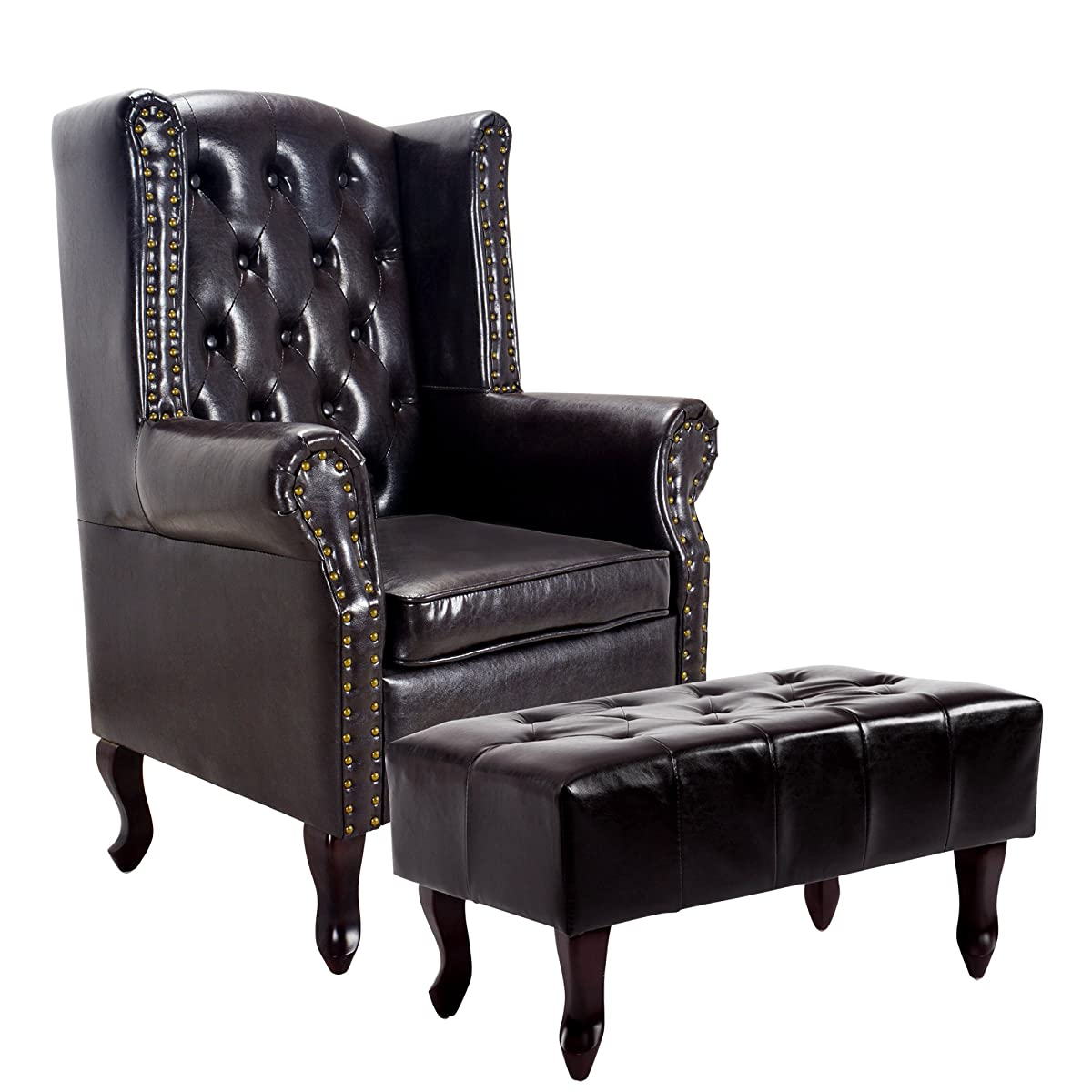 Cloud Mountain Tufted Accent Chair and Ottoman Brown Leather Club Chair Couch