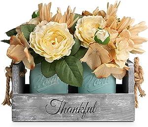 HOMKO Mason Jar Centerpiece Set with Artificial Flower, Kitchen Table Decor Centerpiece in Farmhouse Rustic Style for Flatware Organizer, Flower Arrangement, Garden Wedding (Blue, Medium)