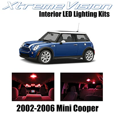 XtremeVision Interior LED for Mini Cooper 2002-2006 (7 Pieces) Red Interior LED Kit + Installation Tool: Automotive