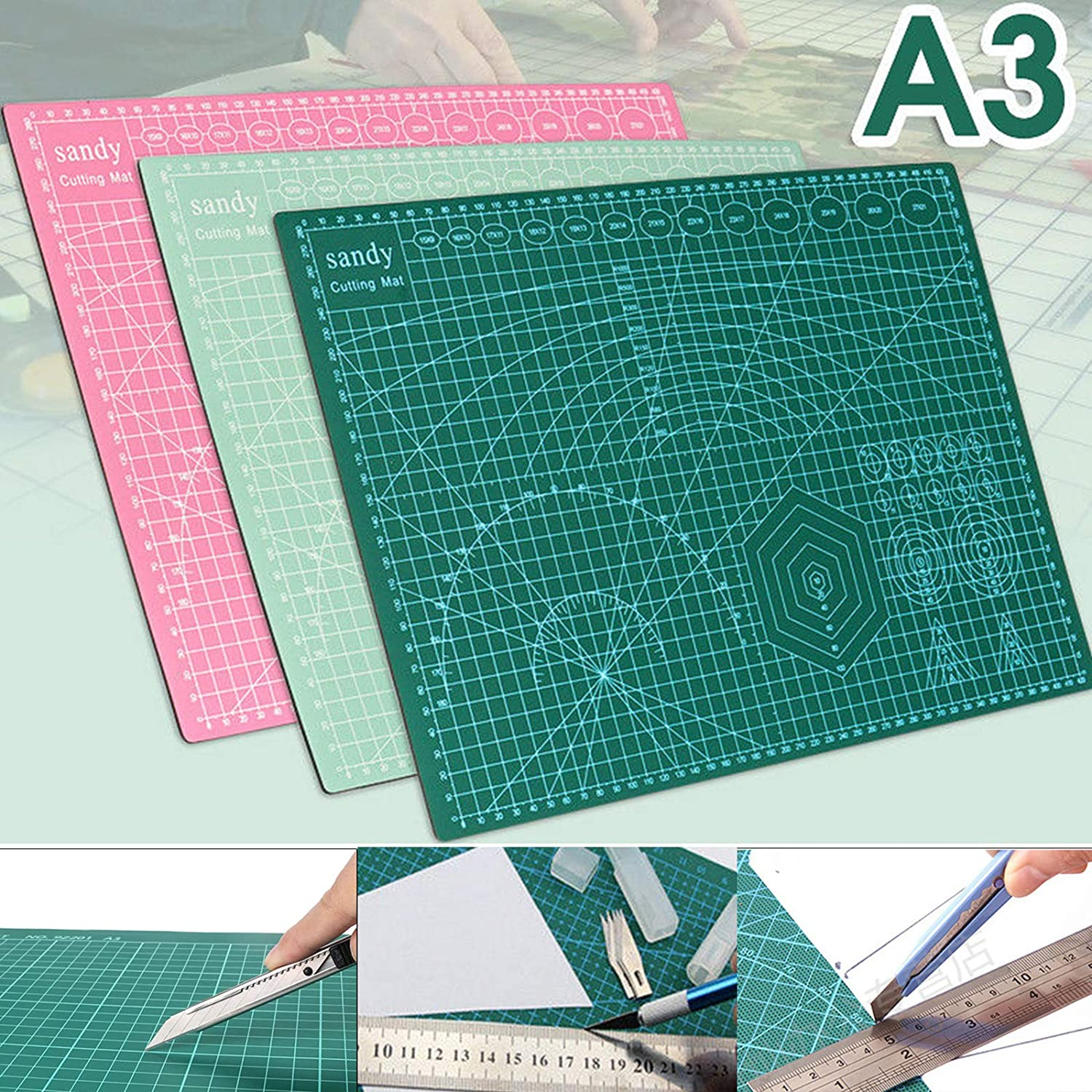 DHOUTDOORS A3 Cutting Mat Self Healing Non Slip Craft Quilting Printed Grid Lines Mint Green