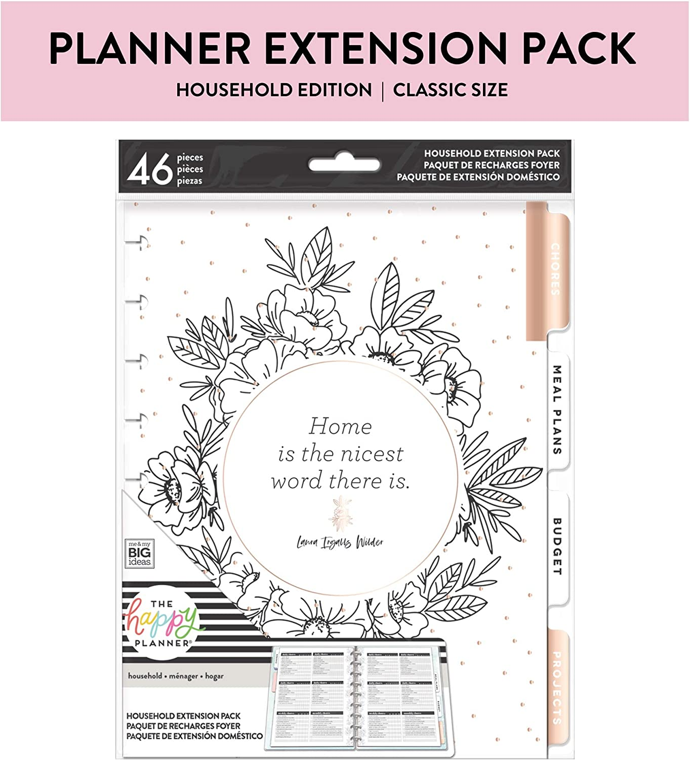 me & my BIG ideas Home Extension Pack - The Happy Planner Scrapbooking Supplies - Organizer for Household Duties - Plan Your Budget & Chores, Make Grocery Lists & Meal Plans - Classic Size
