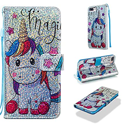 Case for iPhone 6S Plus/6 Plus/7 Plus/8 Plus,Pu Leather Sparkle Wallet Case with Inner Bumper with Card Slots Magnetic Strap Case Compatible with ...