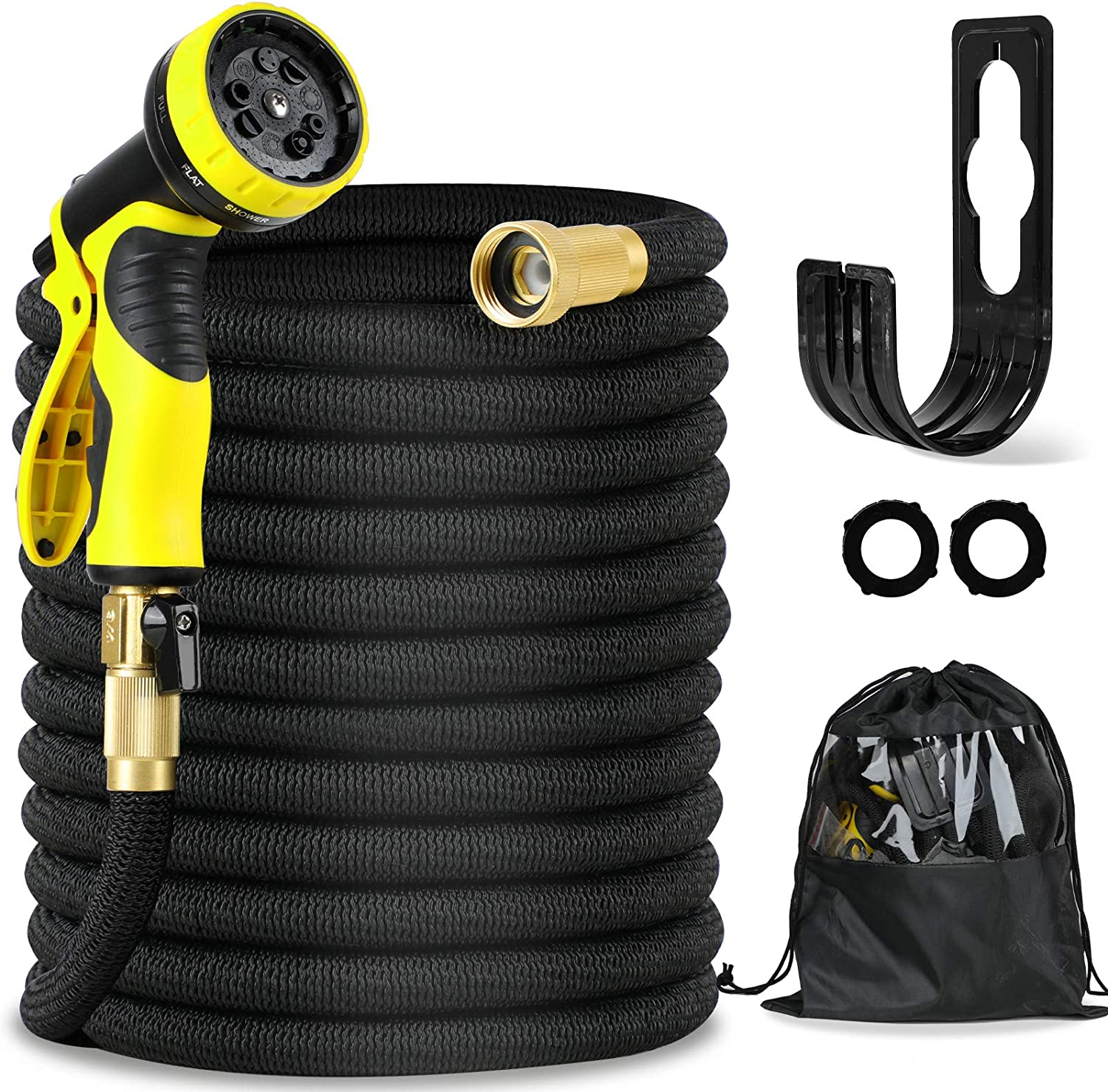 Expandable Garden Hose, 50ft Lightweight Flexible Water Hose, 9 Functions Sprayer with Double Latex Core, 3/4