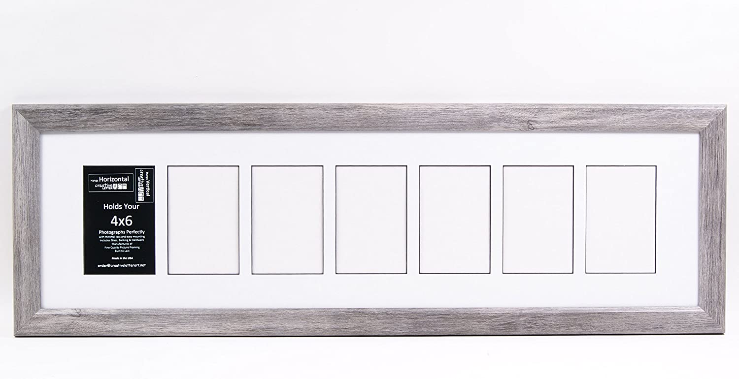 Creative Letter Art [10x36 7 Opening Glass Face Driftwood Like Picture Frame to Hold 4 by 6 Photographs Including 10 by 36 inch White Mat Collage