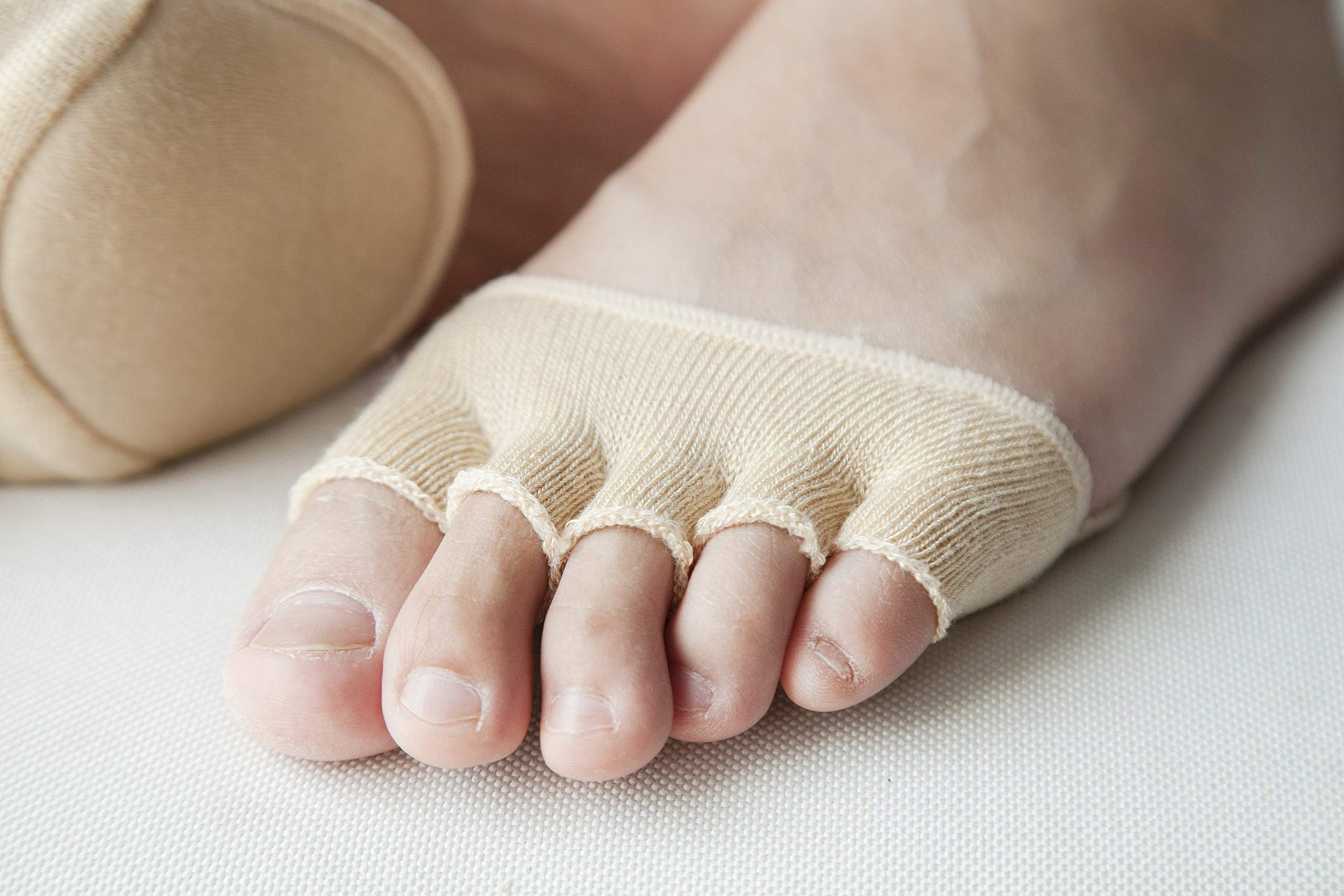 Toe Socks, Cotton Non-Slip Women's Toe Toppers Socks Toe Separating Socks No-Show Half Socks Barre Pilates Yoga Half Palm Socks(2 Pairs) by Pnrskter (Image #4)