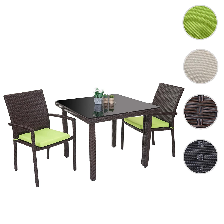 Poly-Rattan-Garnitur Cava, Garten Sitzgruppe 2x Stuhl Tisch 90x90cm ~ braun, Kissen grün