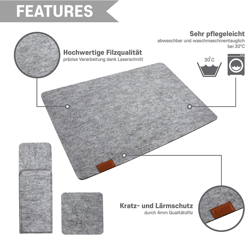 Glasuntersetzer ecope Tischset aus Filz//Edeles 4er Set aus Tischuntersetzer Bestecktasche//Hochwertige Platzsets waschbar und hitzebest/ändig f/ür Teller und Besteck dunkel grau