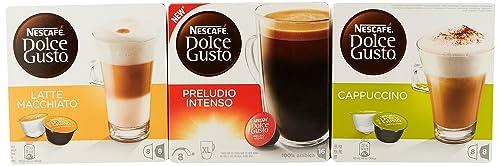 Nescafé Dolce Gusto Variety Pack, Preludio Intenso + Cappuccino + Latte Macchiato, Pack of 3 (48 Pods)