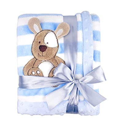 "Zebrum Thick Fleece Blanket, 30""x39"" Plush Flannel Throw, Extra Soft/Warm/Cozy, Double Layer, Reversible& Easy Care (Blue Dog): Home & Kitchen"