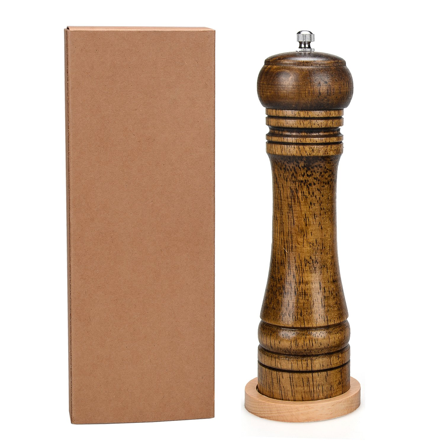 Lazarap Salt Pepper Shaker Sets Solid kitchen pepper mill Wood with a Strong Adjustable Ceramic Pepper Grinder 8 Inch Wooden