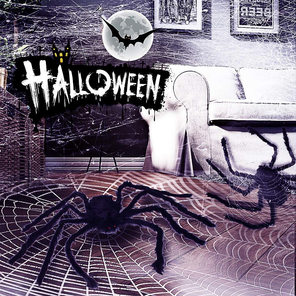 50 pollici Black Spider Ragno gigante da 50 pollici ragno peloso di Halloween Spaventoso falso grande ragno per decorazioni esterne Decorazioni da cortile Decorazioni spaventose spider di peluche