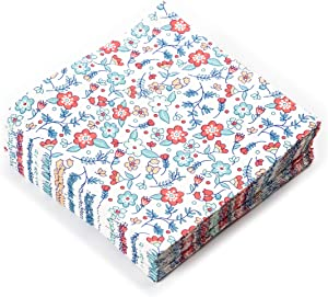 Liberty Flower Print Cocktail Napkins Set | Decorative & Disposable Paper Napkins for Weddings, Birthdays, Baby Showers, Holiday Events | Fun & Festive Floral Patterns Bursting with Vibrant Colors