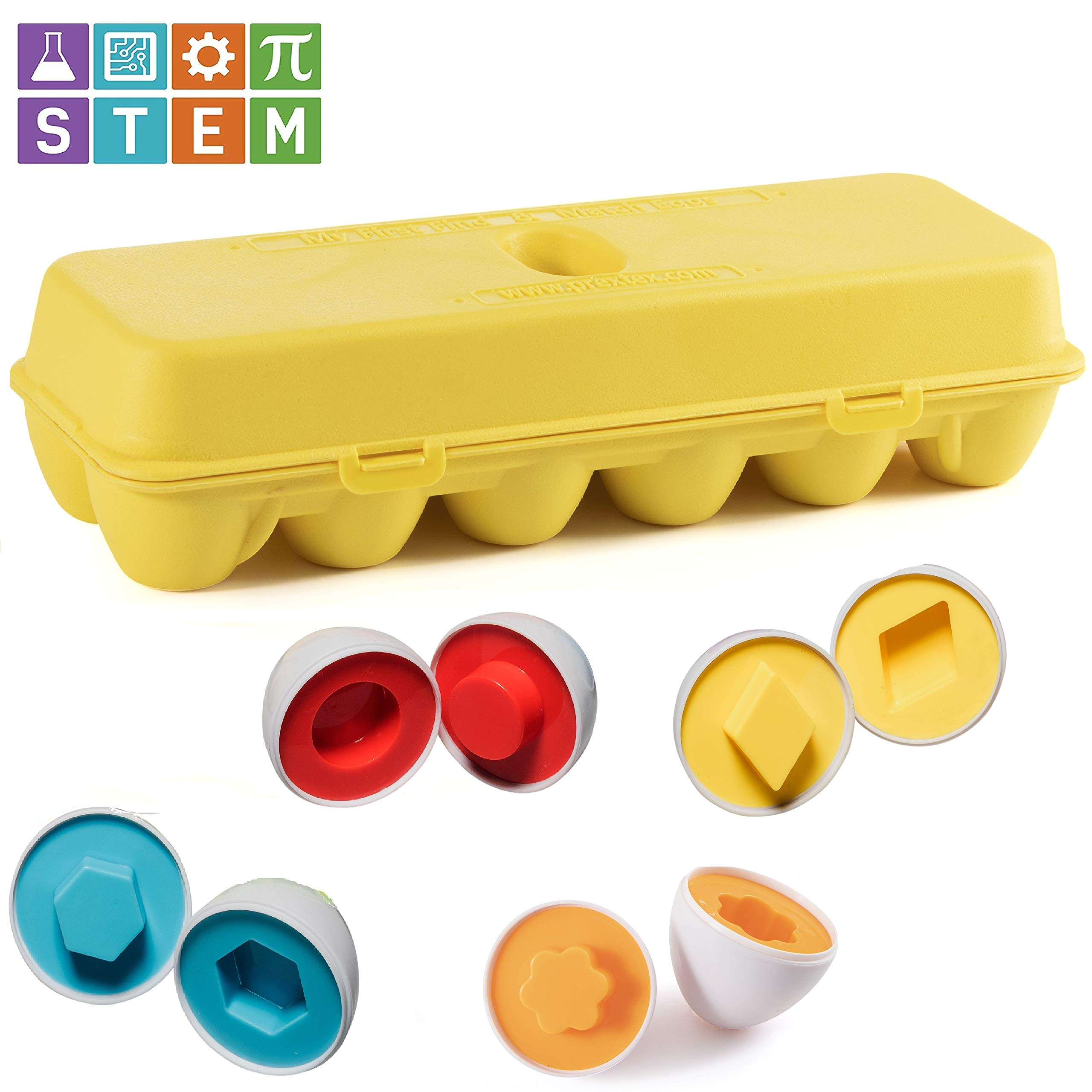 Prextex My First Find and Match Easter Matching Eggs with Yellow Eggs Holder - STEM Toys Educational Toy for Kids and Toddlers to Learn About Shapes and Colors Easter Gift by Prextex (Image #5)