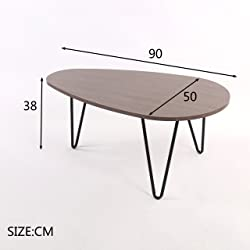 CTF STELLA Walnut Oval Coffee Table Side Table End Table with Curved Metal Legs